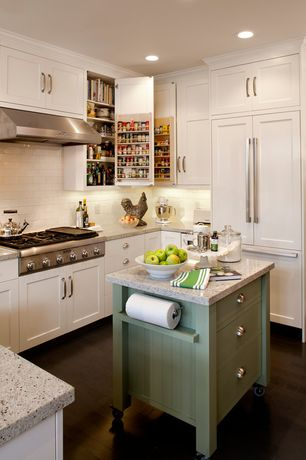 Country Kitchen with Subway Tile, Flat panel cabinets, Simple granite counters, Kitchen island, Standard height, Wall Hood