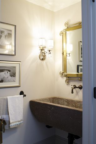 Eclectic Powder Room with Water creation elegant spout wall mount vessel/lavatory faucet, Kingway stone kitchen farm sink