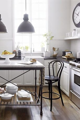 """Contemporary Kitchen with Complex marble counters, European Cabinets, Crate&Barrel Vienna Black 24"""" Counter Stool, L-shaped"""