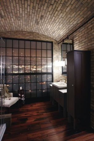 Contemporary Master Bathroom with Standard height, Pendant light, Wall Tiles, Vessel sink, Corian counters, Flush, Shower
