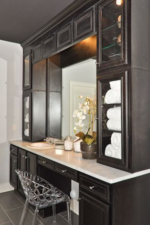 Contemporary Master Bathroom with Paint 2, Paint, Concrete tile , linen and towel storage cabinet, Framed Partial Panel