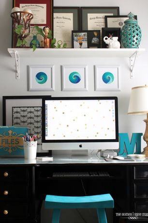 Eclectic Home Office with Standard height, Paint