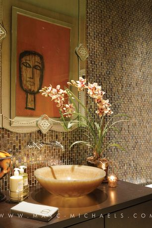 Contemporary Powder Room with Inset cabinets, Daltile coastal keystones treasure island ck 90 mosiac tile, Metal Tile