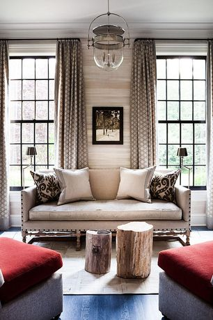 Contemporary Living Room with interior wallpaper, double-hung window, Crown molding, Standard height, Hardwood floors