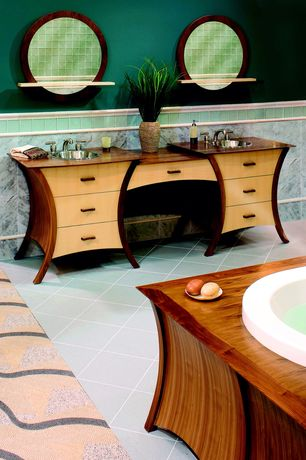 Art Deco Master Bathroom with Flush, Chair rail, European Cabinets, Master bathroom, Wood counters, Colour flooring