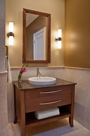 Contemporary Full Bathroom with American Standard Brook Bathroom Mirror, European Cabinets, Soapstone counters, Wall sconce