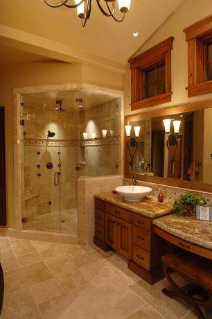 Craftsman Master Bathroom with Vanity, Avanity above counter bathroom sink, Arizona tile, COLISEUM (STAINED), Granite