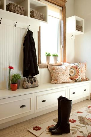 "Traditional Mud Room with Safavieh Alice Wall Shelf, Crate & Barrel Catania Coral 16"" Pillow, High ceiling, Hardwood floors"
