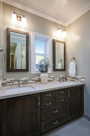 Modern Master Bathroom with wall-mounted above mirror bathroom light, Flat panel cabinets, Standard height, Undermount sink