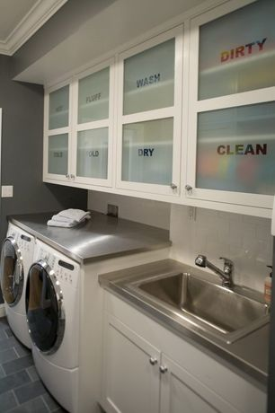 Contemporary Laundry Room with interior brick, Built-in bookshelf, Cabot porcelain tile- concrete, laundry sink, Paint 1