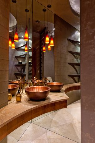 Contemporary Master Bathroom with Lava 1 Light RapidJack Pendant and Canopy in Bronze with Amber Lava Glass