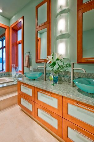 Contemporary Master Bathroom with Glass panel, Laguna bay 12 in. x 12 in. cream ceramic floor and wall tile, Vessel sink