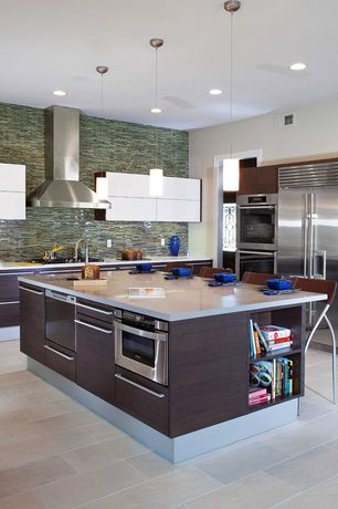Contemporary Kitchen with full backsplash, Pendant light, Wall Hood, Ceramic Tile, stone tile floors, Flush, Paint 1