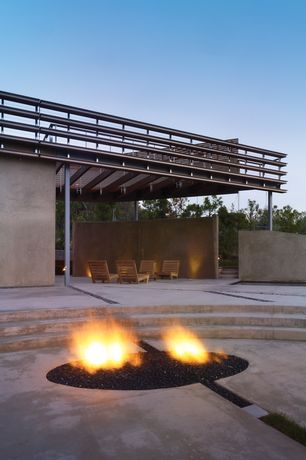 Contemporary Patio with Pathway, Fence, Fire pit