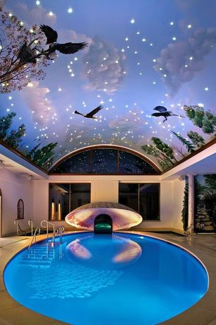 Eclectic Swimming Pool with Arched window, Indoor pool, Custom Interior Murals, exterior stone floors, Custom Indoor Pools