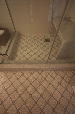 Mediterranean Full Bathroom with three quarter bath, Standard height, Handheld showerhead, ceramic tile floors, Shower
