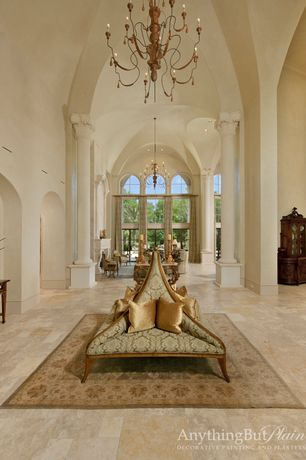 Traditional Entryway with High ceiling, Home click, Columns, Etsy, Chandelier, sandstone floors