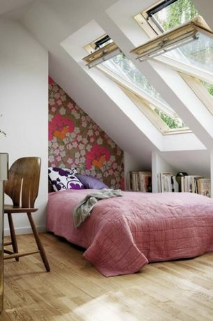 Contemporary Attic with interior wallpaper, Oak - natural 5 in. solid hardwood plank, Hardwood floors, Bed nook