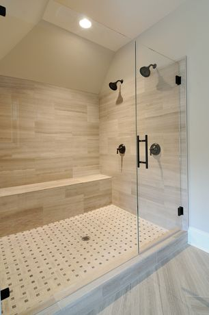 Contemporary 3/4 Bathroom with Ms international metro charcoal 12 in. x 24 in. glazed porcelain floor and wall tile