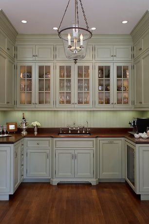 Traditional Pantry with Standard height, can lights, Built-in bookshelf, Paint 1, Crown molding, Chandelier, Hardwood floors