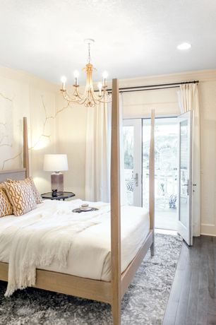 Contemporary Guest Bedroom with Crown molding, Chandelier, French doors, Pottery barn: armonk chandelier, Hardwood floors
