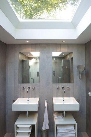 Contemporary Master Bathroom with Rain shower, linen and towel storage cabinet, Skylight, Shower, Undermount bathroom sink