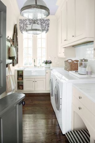 "Traditional Laundry Room with Restoration hardware clemson classic single pendant - polished nickel 14"", Built-in bookshelf"
