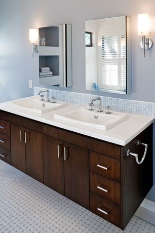 Contemporary Master Bathroom with European Cabinets, Ceramic Tile, Powder room, Built-in bookshelf, Wall sconce, Double sink