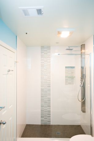 Modern 3/4 Bathroom with ceramic tile floors, frameless showerdoor, TileBar Rapids Pattern Windy City Glass and Stone Tile