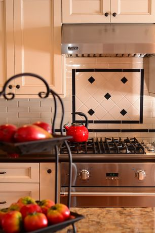 """Traditional Kitchen with Kitchen island, Viking Professional Series 30"""" Wide 10"""" High Wall Hood and Ventilator, One-wall"""
