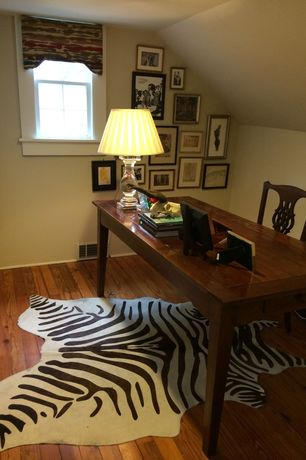 Eclectic Home Office with Hardwood floors, Standard height, double-hung window