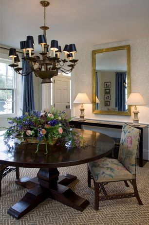 Traditional Dining Room with interior wallpaper, Standard height, double-hung window, Carpet, Chandelier, Wainscotting