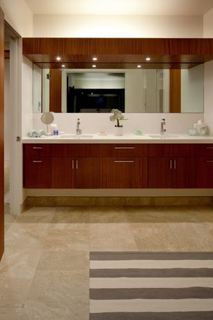 Contemporary Master Bathroom with European Cabinets, stone tile floors, can lights, Standard height, flat door, Powder room
