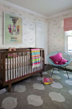 Eclectic Kids Bedroom with Crown molding, interior wallpaper, Porters Paints Dragonfly Wallpaper, Carpet