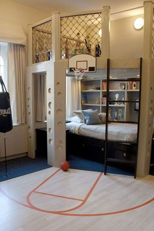 Modern Kids Bedroom with Pottery Barn Kids Branson Reversible Quilt, Carpet, Bunk beds, Arched window, Built-in bookshelf