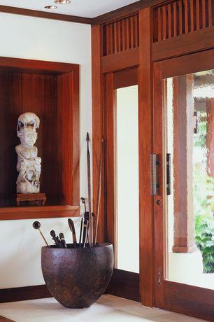 Tropical Entryway with Nztrends exterior door, Capsule planter in mild steet