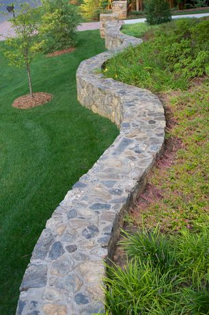 Traditional Landscape/Yard with Pathway, exterior stone floors, Raised beds