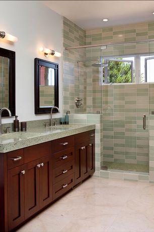 Contemporary Master Bathroom with Flush, European Cabinets, Simple Granite, Undermount sink, Rain shower, Double sink
