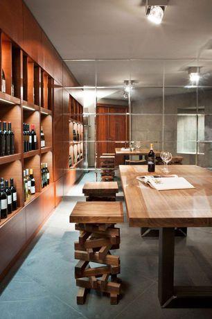 Contemporary Wine Cellar with Pendant light, Built-in bookshelf, Luigi bormioli allegro 18.5 oz. burgundy glass - set of 4