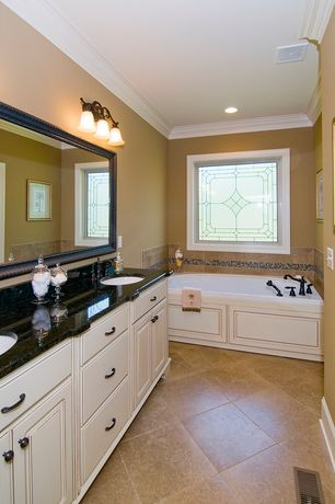 Traditional Master Bathroom with Undermount sink, Flat panel cabinets, Crown molding, Raised panel, Master bathroom