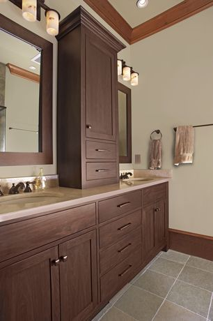 Craftsman Master Bathroom with Greenfield cabinets augusta option a alder cabinets doors, Limestone, High ceiling