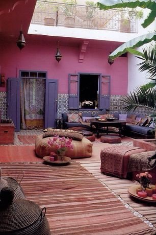 Mediterranean Patio with Deck Railing, Raised beds, Transom window, Casement