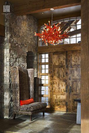 Eclectic Entryway with Transom window, Exposed beam, French doors, Chandelier, High ceiling, Eldorado Stone Broken Top K-West
