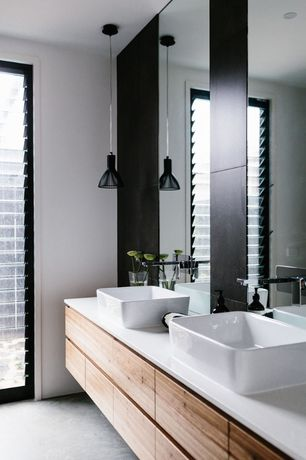 Contemporary Master Bathroom with Master bathroom, Vessel sink, Paint, slate floors, can lights, Corian counters, Casement