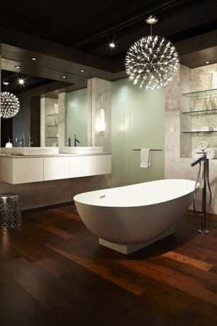 Eclectic Master Bathroom with Chandelier, Double sink, Freestanding, Wall sconce, Riamond Round LED light ceiling Chandelier
