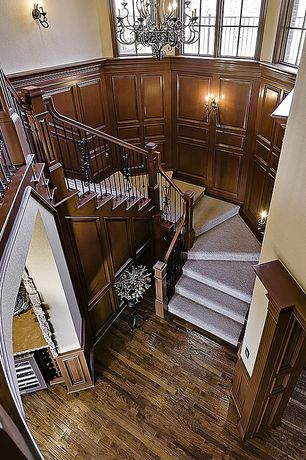 Traditional Staircase with Hardwood floors, High ceiling, Wall sconce, Wainscotting, Curved winder staircase