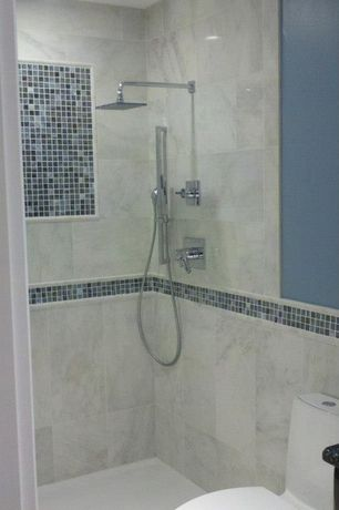 Contemporary 3/4 Bathroom with Handheld showerhead, SQUARE RAINFALL SHOWER HEAD, Rain shower