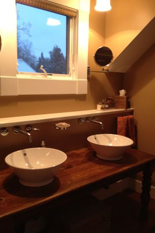 Craftsman Master Bathroom with Double sink, Vessel sink, Hardwood floors, High ceiling, Powder room, Pendant light