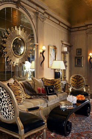 Eclectic Living Room with Carpet, High ceiling, Arched window, Chair rail, Wall sconce, Crown molding