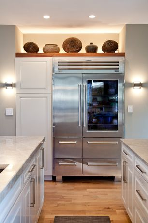 Traditional Kitchen with L-shaped, Kitchen island, Multiple Refrigerators, Raised panel, Undermount sink, Paint 1, can lights
